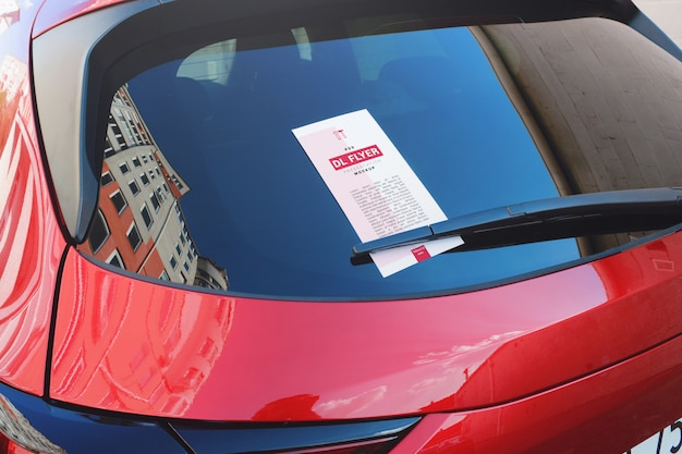 Advertising dl flyer under the car wiper mockup