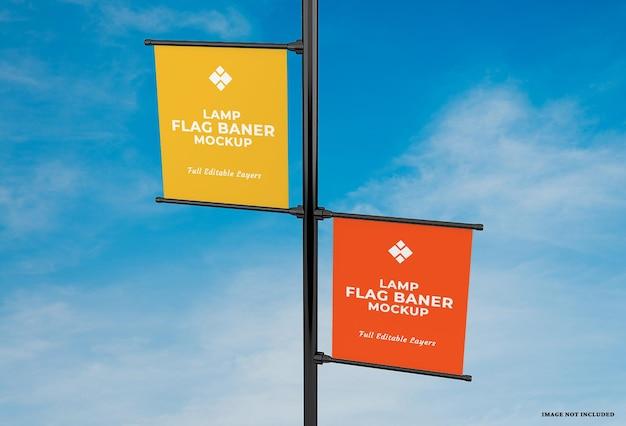 広告ランプバナーフラグモックアップデザイン