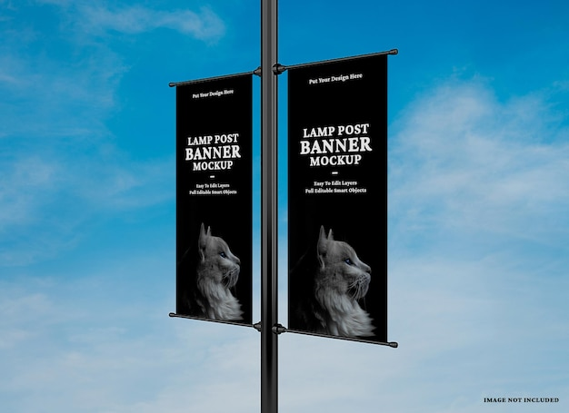 Advertising lamp banner mockup