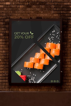 Advertising mock-up with sushi