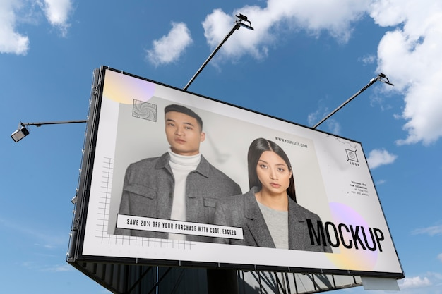 Advertising mockup with trendy people