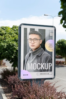 Advertising mockup with young man