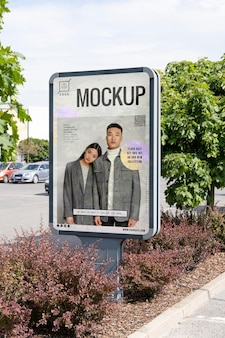 Advertising mockup with young people
