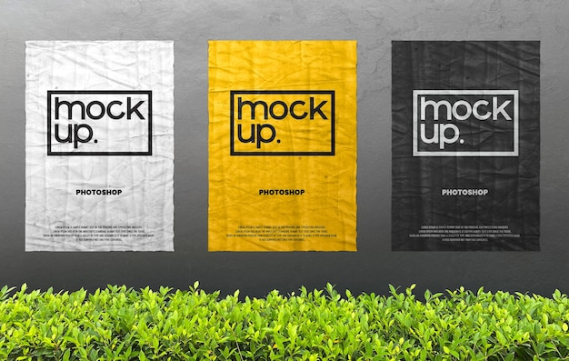Advertising poster on wall realistic mockup
