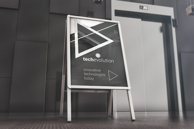 Advertising stand in office lobby mockup