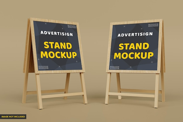 Advertising wood stand banner mockup and display mockup for branding
