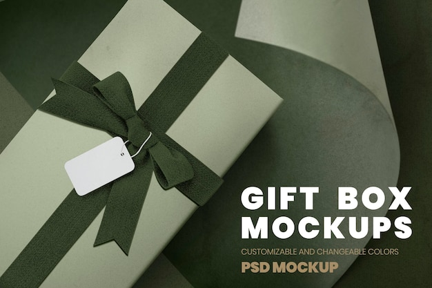 Aerial view of gift box with a tag mockup