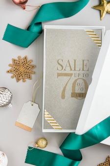 Вид с воздуха на рождественскую подарочную коробку