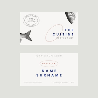 Aesthetic business card template psd for restaurant, remixed from public domain artworks