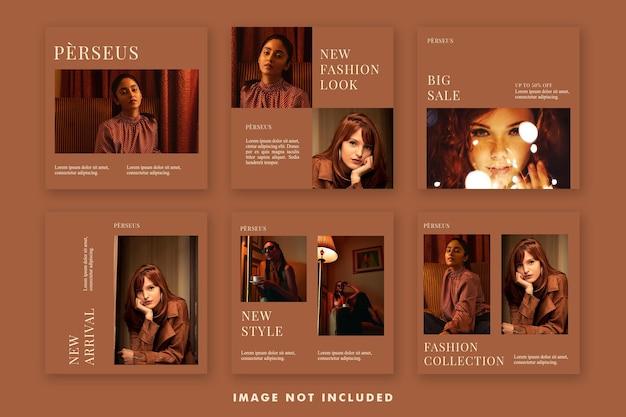プロモーションのための美的ファッションソーシャルメディア投稿バナーテンプレートバンドル