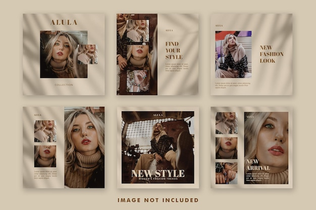 Aesthetic fashion social media post banner template bundle for promotion