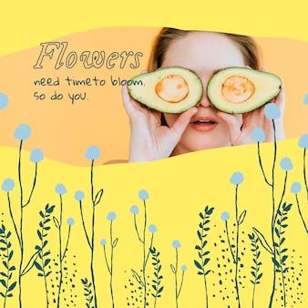 動機付けの引用と写真付きの審美的な花の編集可能なテンプレートpsdソーシャルメディアの投稿
