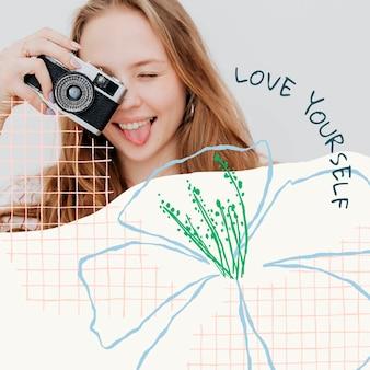 동기 부여 견적 및 사진과 함께 미적 꽃 편집 가능한 템플릿 psd 소셜 미디어 게시물