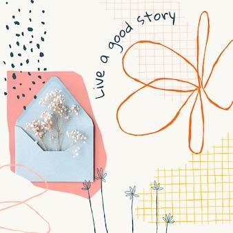 Эстетический цветочный редактируемый шаблон psd пост в социальных сетях с мотивационной цитатой