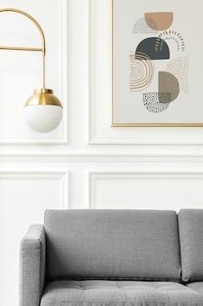 最小限の装飾のリビングルームの美的フレームモックアップpsd