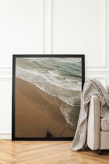Aesthetic frame mockup psd in a minimal decor living room