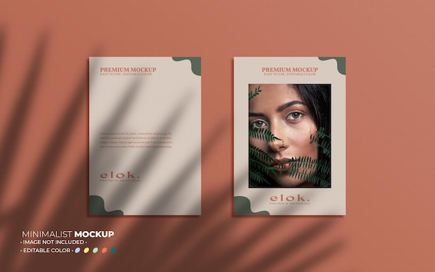 Aesthetic poster set mockup composition and overlays