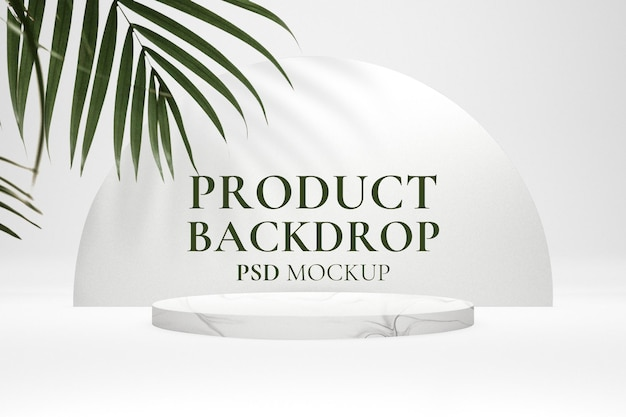 Aesthetic product backdrop mockup psd with leaf shadow in white minimal style