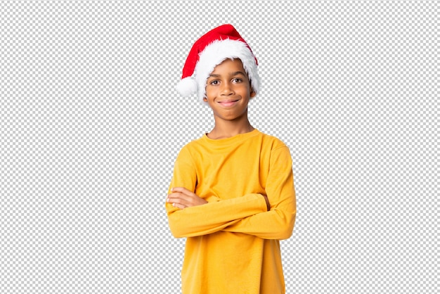 African american boy with christmas hat smiling a lot