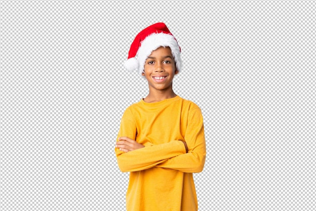 African american boy with christmas hat
