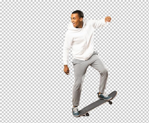 Afro american skater man