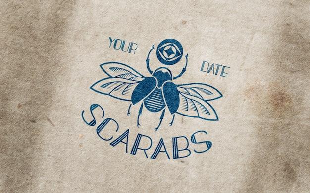 Aged cardboard blue logo mockup