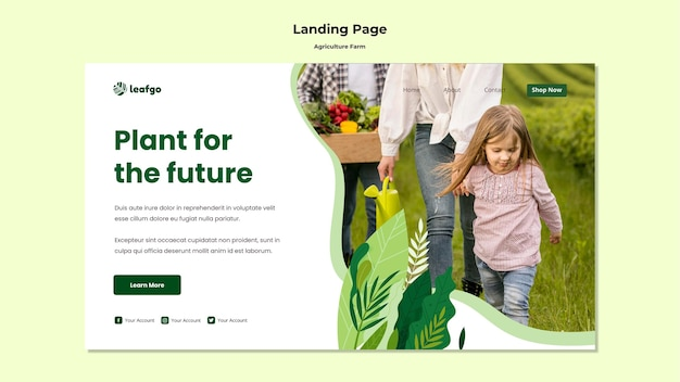 Agriculture farm concept landing page template