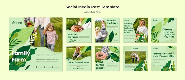 Agriculture farm concept social media post template