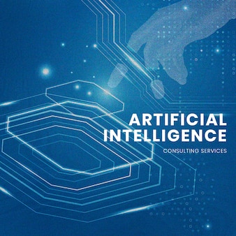 Ai technology editable template psd futuristic innovation for social media post
