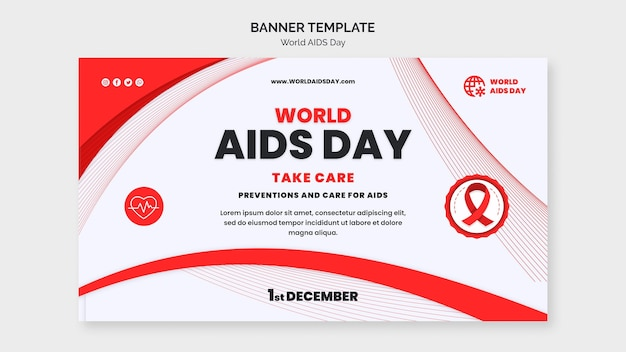 Aids day awareness horizontal banner template