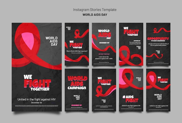 Aids day awareness instagram stories collection