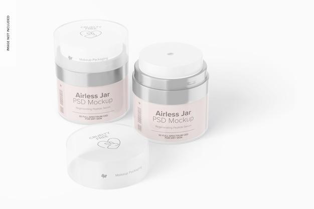 Airless jars mockup, closed and opened
