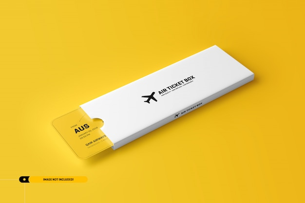 Airplane ticket mockup in a package