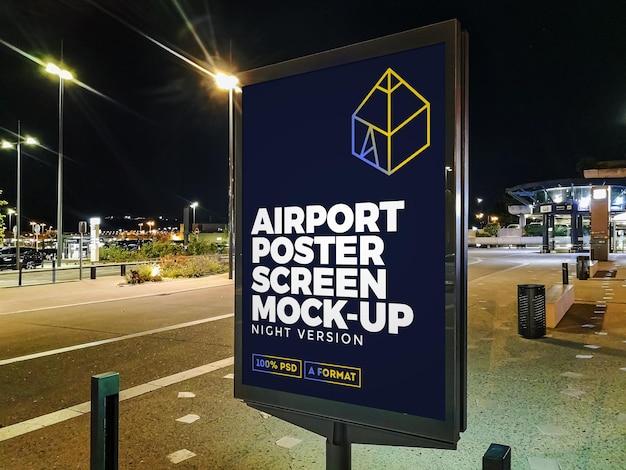 空港の夜の街頭看板モックアップ Premium Psd
