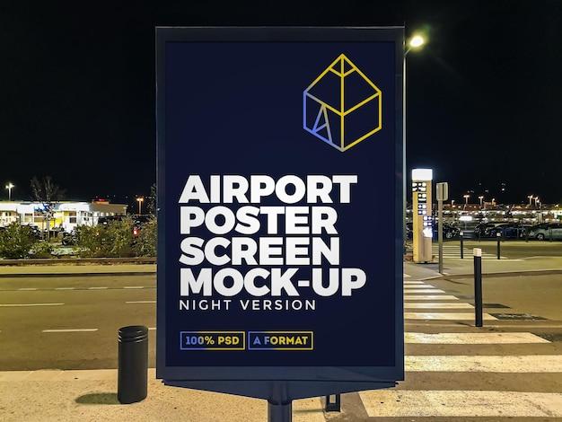 空港の夜の街頭看板モックアップ