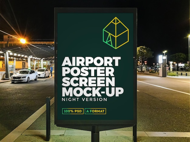 Airport night street billboard mockup