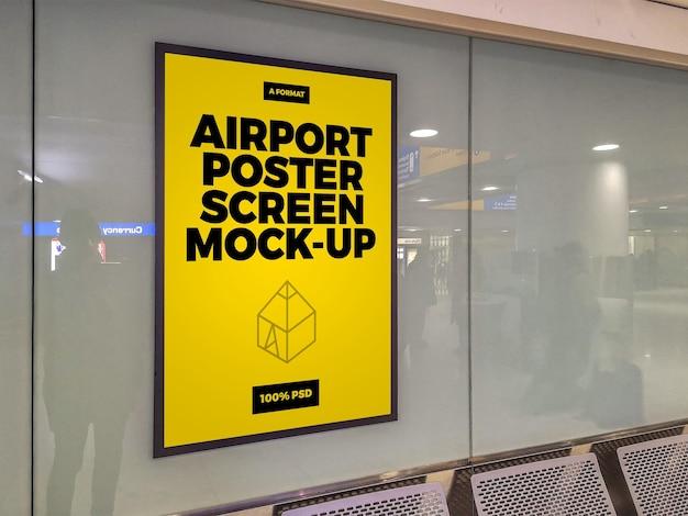 공항 포스터 스크린 목업