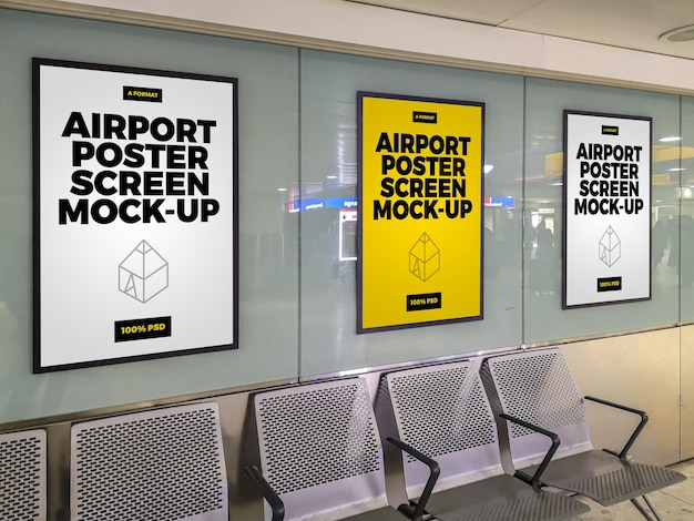 Airport poster screen mock-ups
