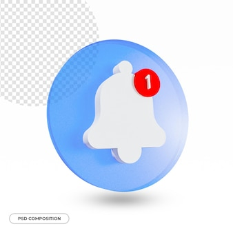 Alarm alert bell notification icon isolated in 3d rendering