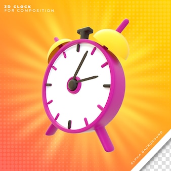 Alarm clock 3d object for composition