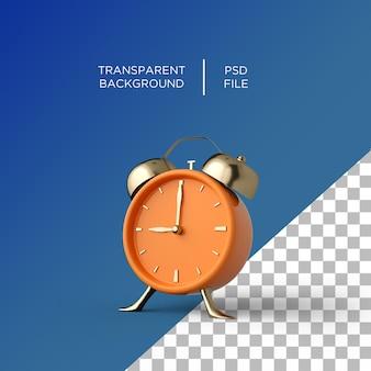 Alarm clock 3d on transparent background