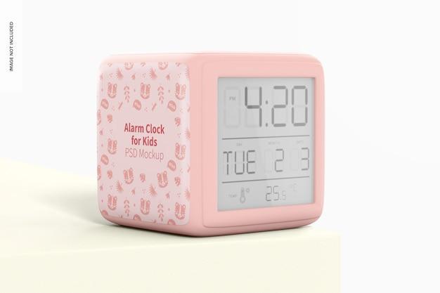 Alarm clock for kids mockup, perspective