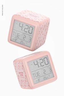 Alarm clocks for kids mockup, falling