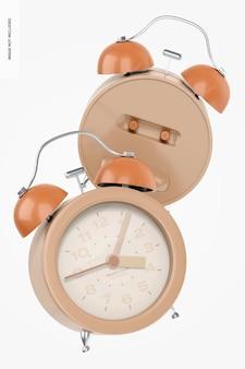 Alarm clocks mockup, floating