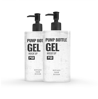 Alcohol gel modern bottle pump hand sanitizer mockup