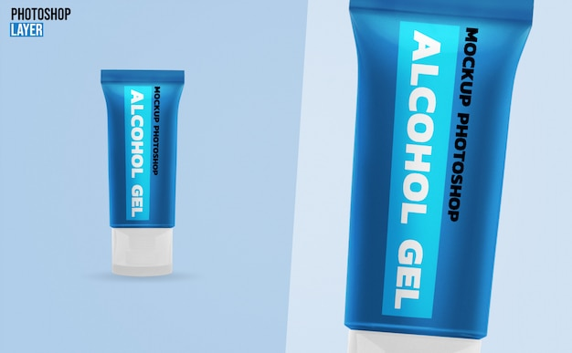 Alcohol gel tubes mockup