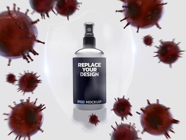 알코올 스프레이 코로나 바이러스 이랑 3d 렌더링 디자인