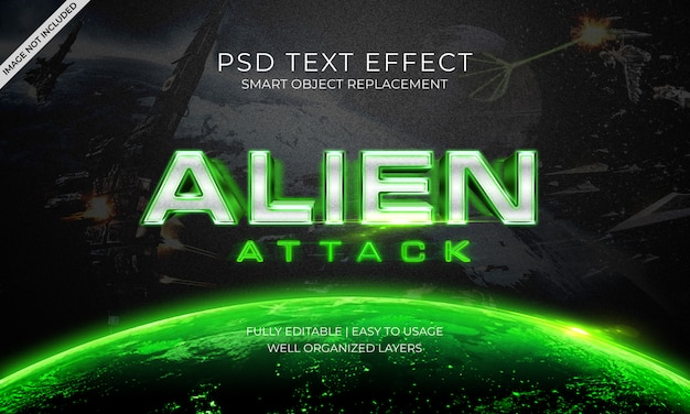Alien attack space text effect
