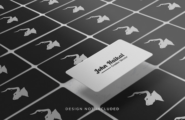 Aligned and floating business card concept mockup