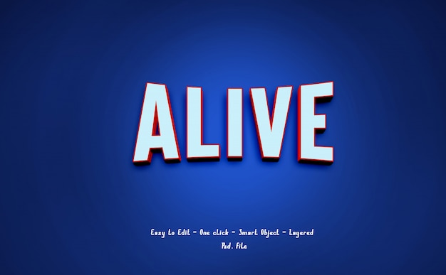 Alive 3d text effect modern style on blue
